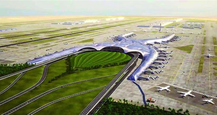 El proyecto del Nuevo Aeropuerto Internacional de la Ciudad de México. Foto: @SCT_mx