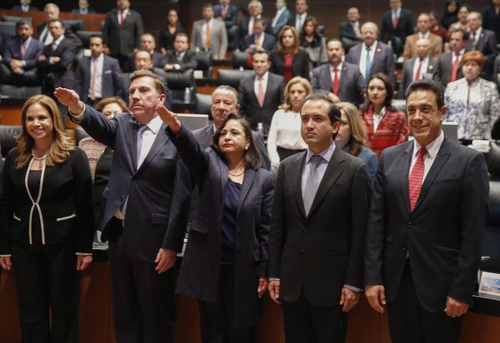 Norma Piña y Javier Laynez fueron designados, y minutos después, tomaron protesta al cargo como ministros de la SCJN ante el Pleno del Senado. Foto: Cuartoscuro