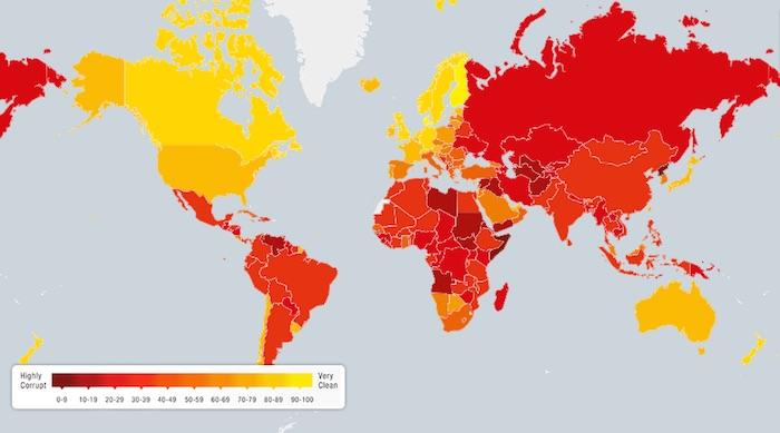 El mapa de la corrupción. Foto: Transparencia Internacional.