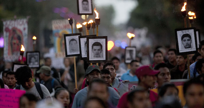 Aniversario de la desaparición de los 43 normalistas de Ayotzinapa. Foto: AP