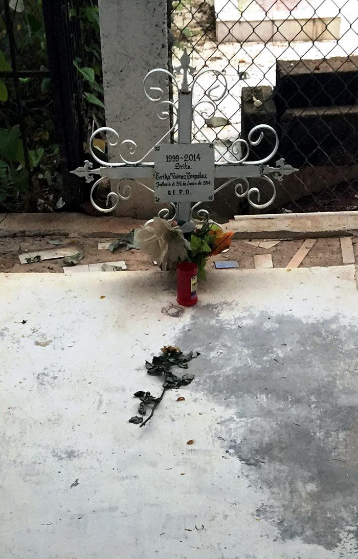 La tumba de Erika. Foto: SinEmbargo Humberto Padgett