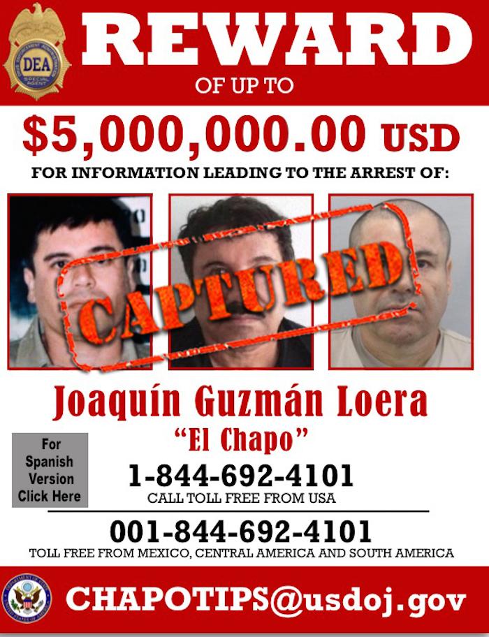 La DEA ofrecía 5 millones de dólares por información sobre el capo sinaloense. Foto: EFE