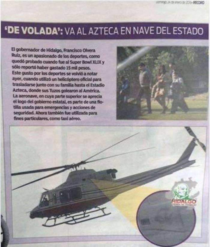 El diario deportivo publicó una imagen del Gobernador de Hidalgo cuando se transportaba en un helicóptero oficial al Estadio Azteca. Foto: Especial