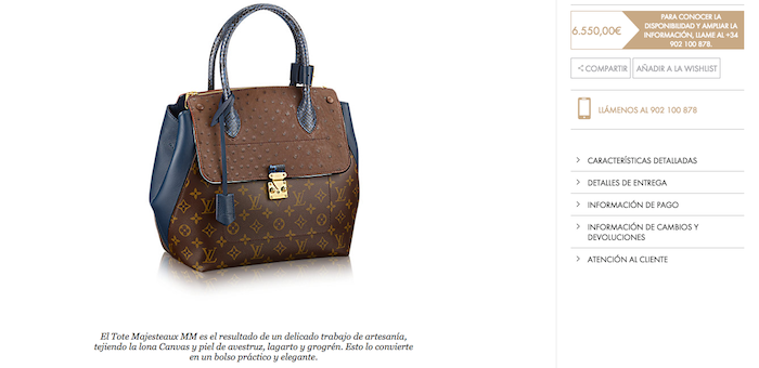 Foto: Captura de pantalla del sitio web de Louis Vuitton.