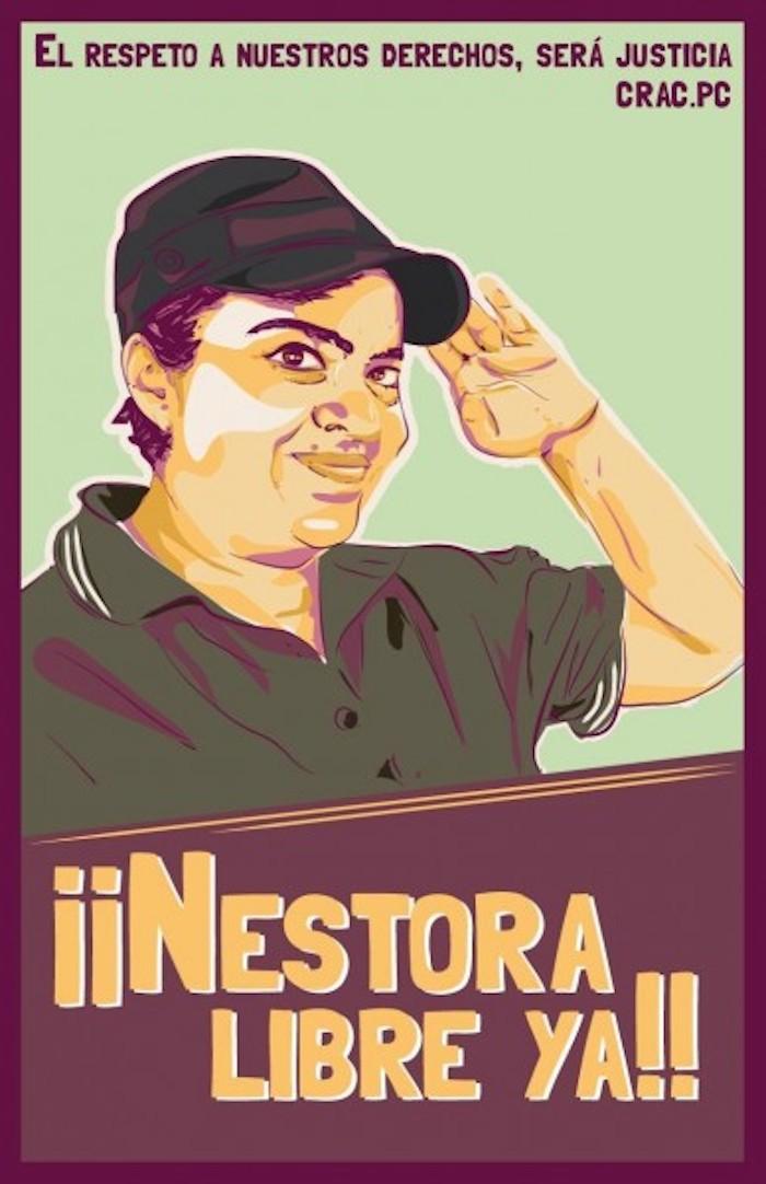 Cartel de la campaña #NestoraSalgadoLibreYa difundido en redes sociales. Foto: especial.