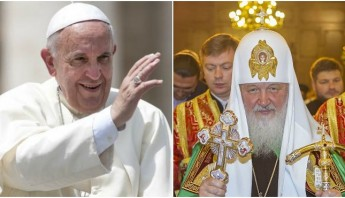 El Papa Francisco y el patriarca de la Iglesia ortodoxa rusa, Kiril. Foto: Especial.