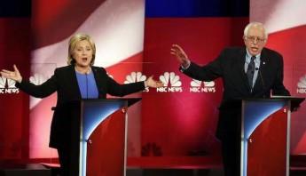 Los precandidatos presidenciales demócratas: la ex secretaria de Estado Hillary Clinton y el senador Bernie Sanders. Foto: AP