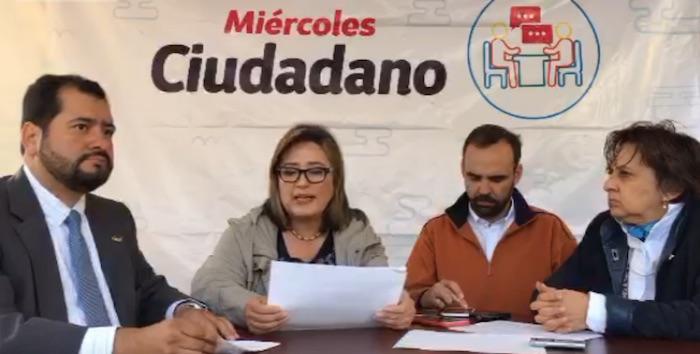 La Delegada Xóchitl Gálvez en la conferencia de prensa transmitida esta mañana en Periscope.