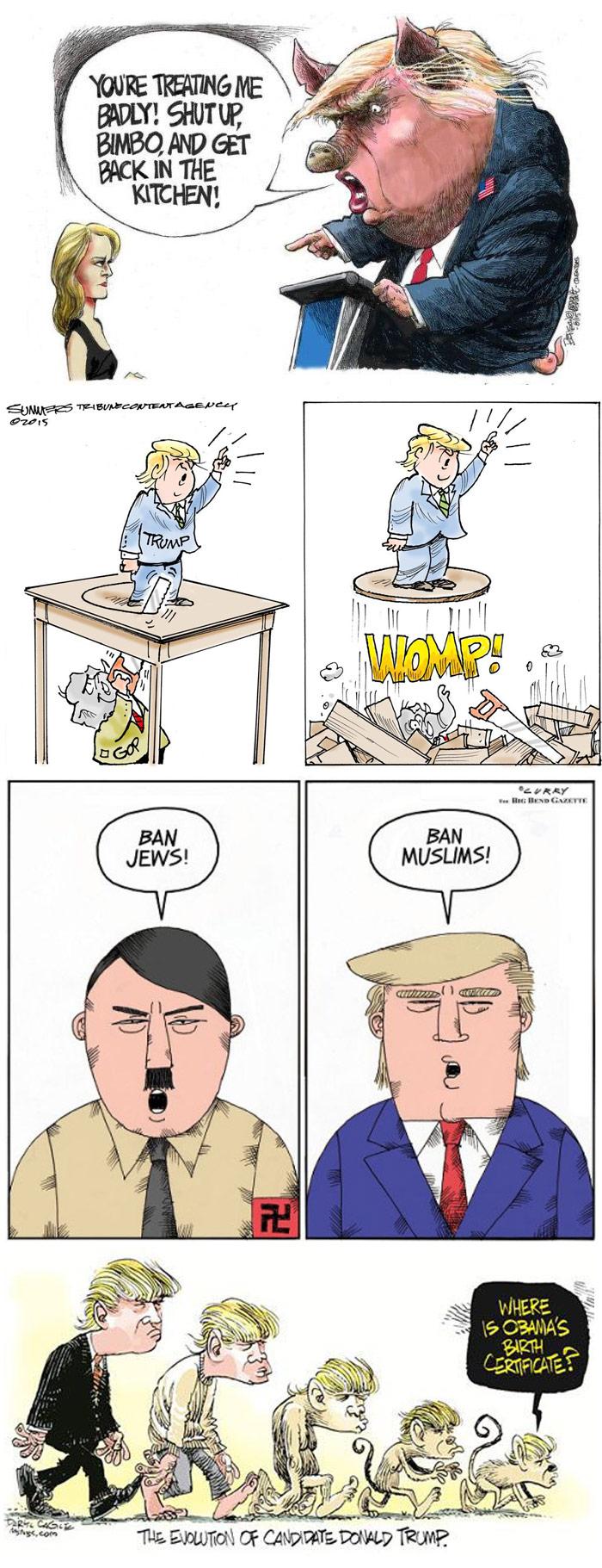 Caricaturistas contra Trump 700. Selección tomada de Internet