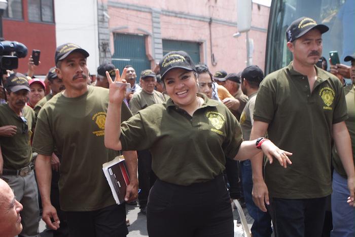 Nestora Salgado a su llegada al Centro Prodh. Foto: Valentina López, SinEmbargo