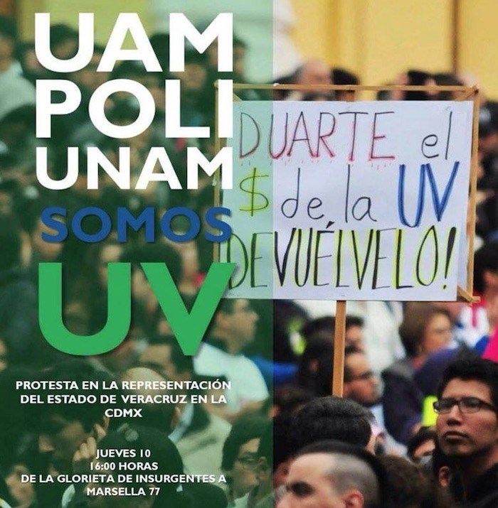 En la Ciudad de México están convocando a marchar la tarde de este jueves en apoyo a la Universidad Veracruzana. Foto: Twitter