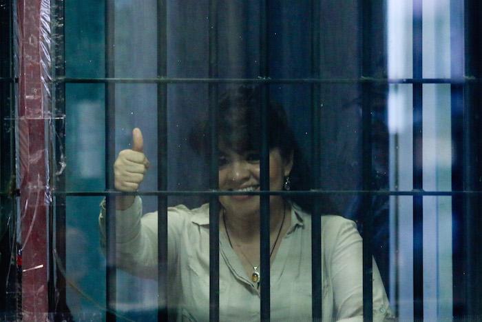 Nestora Salgado durante su audiencia privada en el juzgado 67 en el penal de Santa Martha Acatitla. Foto: Cuartoscuro