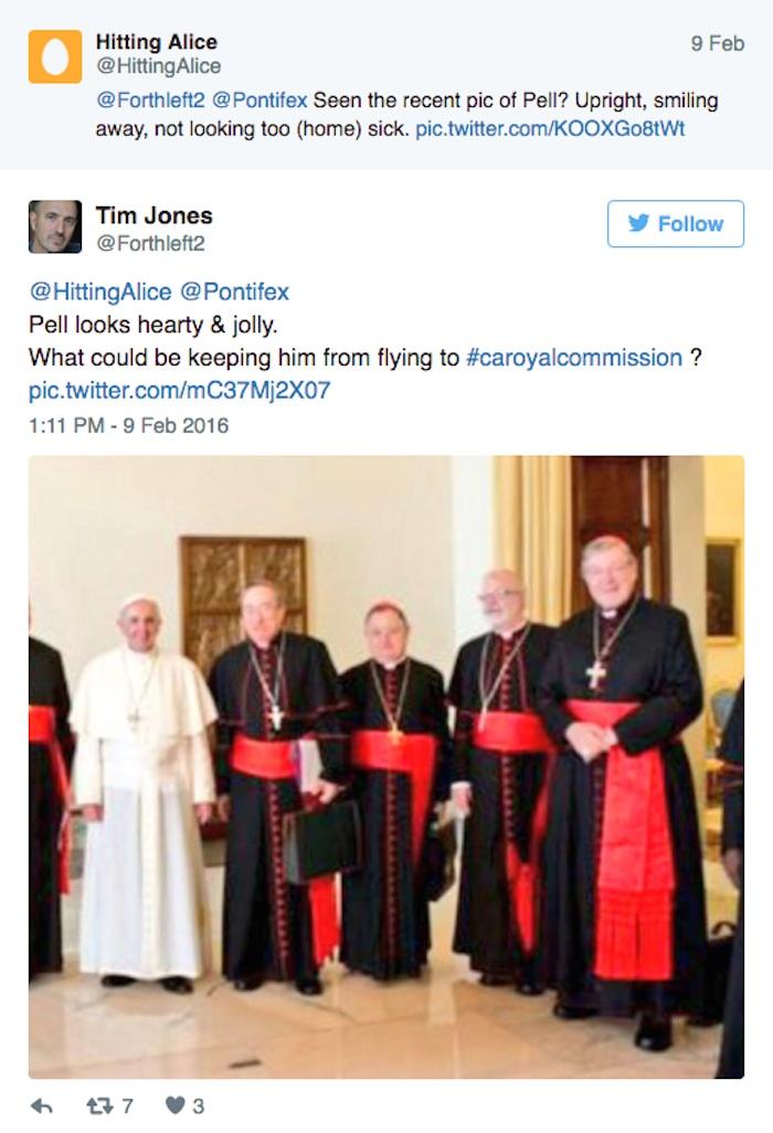 @HittingAlice @Pontifex A Pell se lo ve cordial y alegre. ¿Qué podría impedirle volar a la Comisión Real?. Foto: Instagram