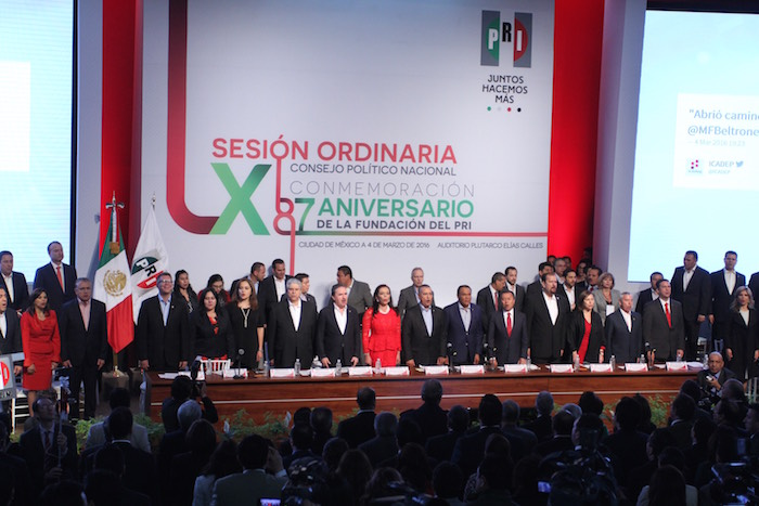 La LX sesión ordinaria del Consejo Nacional del PRI con motivo del 87 aniversario de la fundación del partido. Foto: Cuartoscuro.