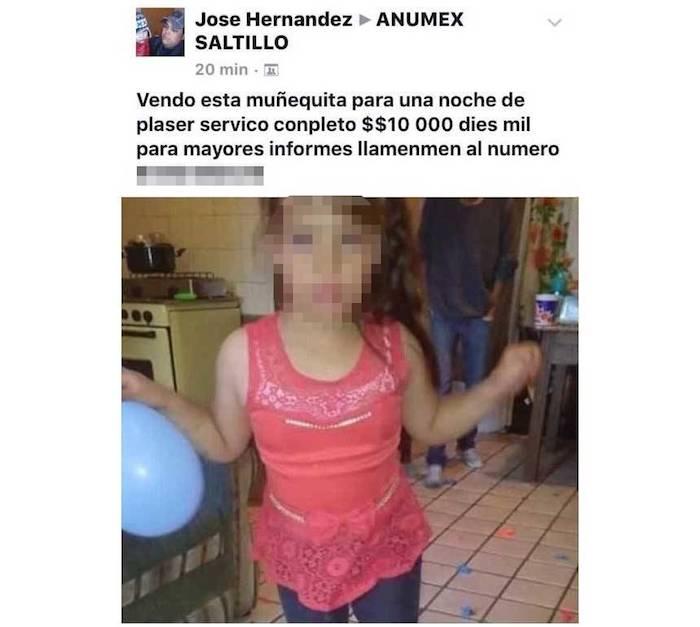 En el anuncio aparece el ofertante de nombre José Hernández y un número de contacto con la lada de Coahuila. Foto: Vanguardia
