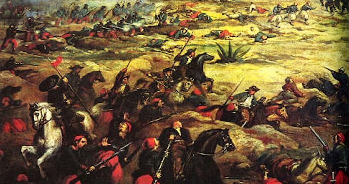 Pintura sobre la Batalla de Puebla