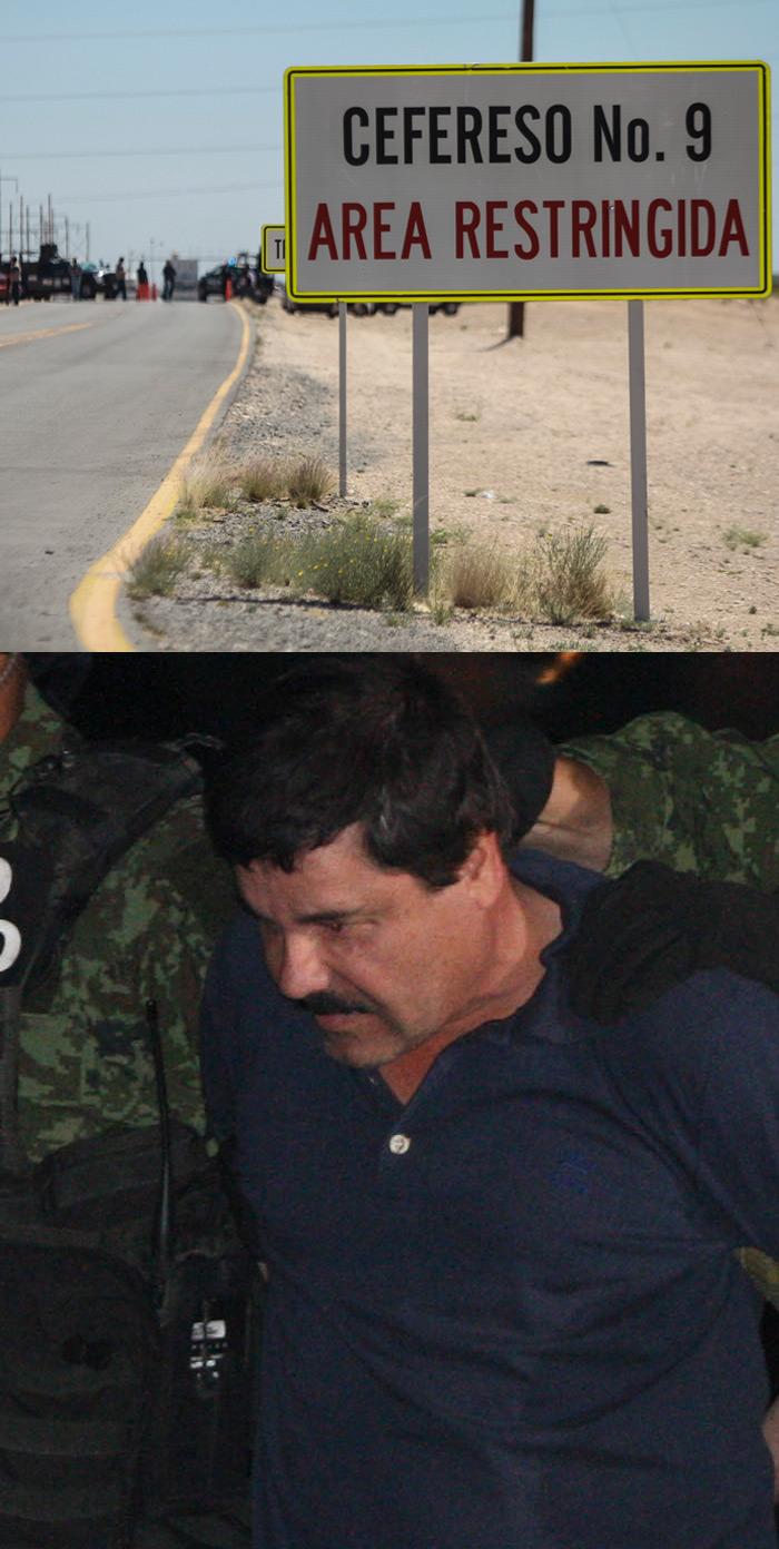 """Arriba, la nueva prisión del capo mexicano. Abajo, """"El Chapo"""" en su última captura. Fotos: Cuartoscuro"""