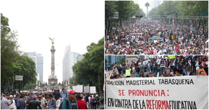 Ciudadanos marchan en apoyo al magisterio. Foto: Francisco Cañedo, SinEmbargo