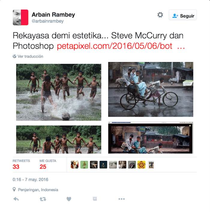 Un tweet del fotógrafo de Indonesia Arbaim Ramdey @arbainrambey