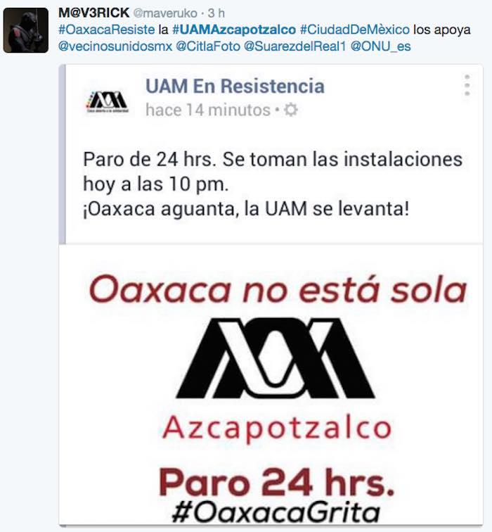 Estudiantes de la UAM anuncian paro de labores en apoyo a la CNTE