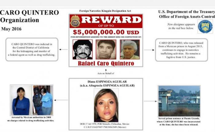 La DEA fichó también a Diana Espinoza Aguilar, pareja de Caro Quintero. Foto: DEA