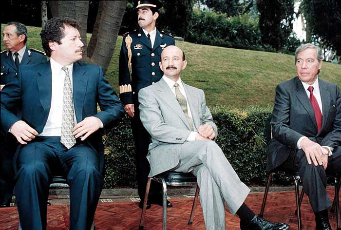 Luis Donaldo Colosio Murrieta, el entonces Presidente Carlos Salinas de Gortari, y Carlos Hank González. Foto: Cuartoscuro
