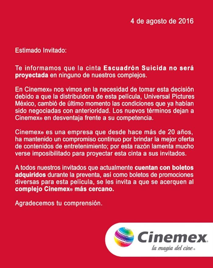 Cinemex publicó el comunicado en Twitter, lo que generó críticas y burlas. Foto: Cinemex.