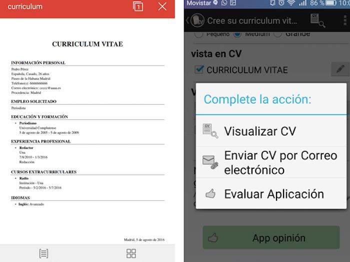 Currículum Gratis, la aplicación para crear un CV desde tu smartphone