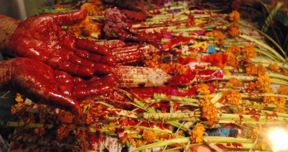 En medio de la mesa de ofrendas una partera recibe la sangre y las plegarias necesarias para renovar su don de curar. Foto: RAM