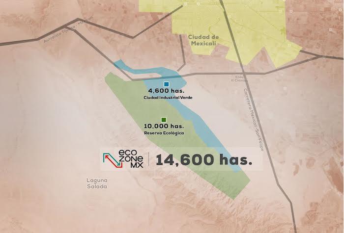 Una imagen usada por la empresa en la presentación del proyecto ante la Semarnat. Actualmente la zona es un territorio desértico: sólo sierra, tierra y matorrales. Imagen: Especial