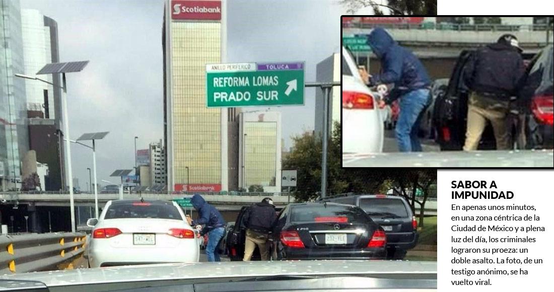 Captan doble asalto sobre Periférico durante tráfico en la CDMX