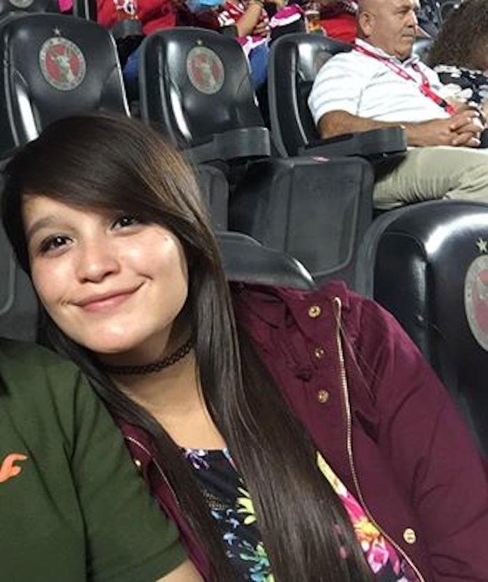 Imagen de Flor Lugo tomada durante el partido de Xolos momentos antes de desaparecer. Foto: Roberto Othon, Facebook