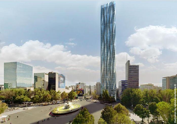 Imagen de la Sky Tower, que se planea construir en la Glorieta de Colón, en la avenida Paseo de la Reforma. Foto: Especial