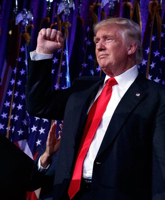 Donald Trump, anoche, al ganar la elección. Foto: AP