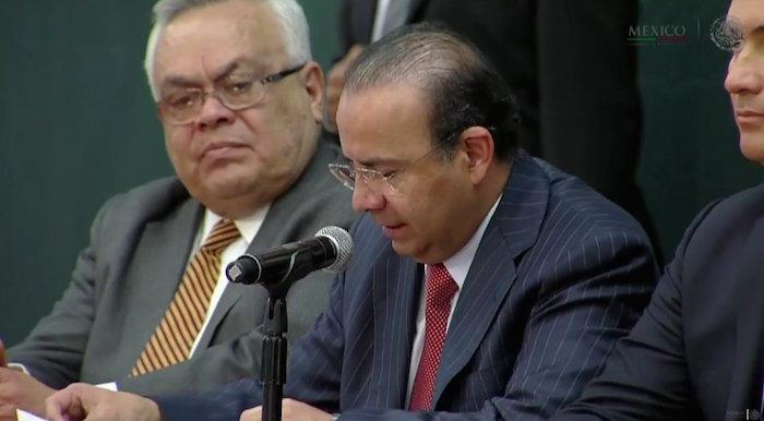 Alfonso Navarrete Prida durante su intervención en Palacio Nacional. Foto: Presidencia México