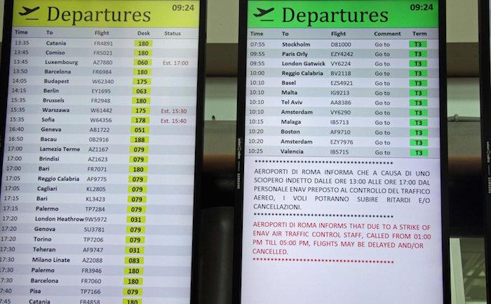 Huelgas obligarán a suspender vuelos en Italia