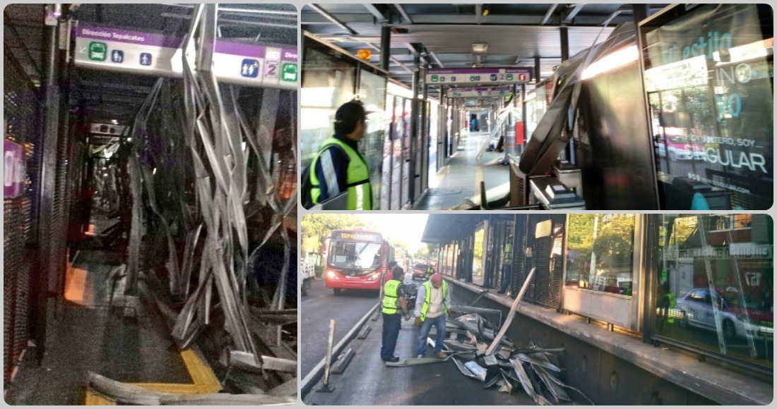 Cierran Metrobús Xola por daños en techo de la estación