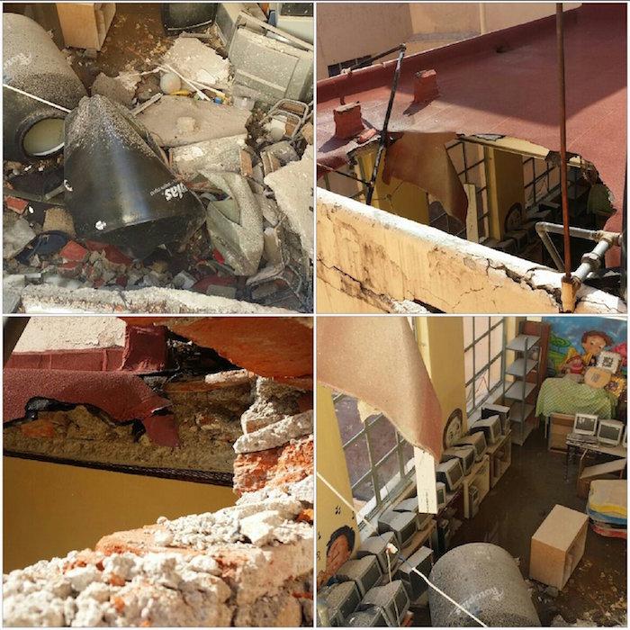 Suspenden actividades una semana en escuela de techo colapsado