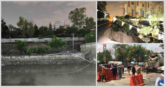 Fuga de agua forma socavón en Álvaro Obregón