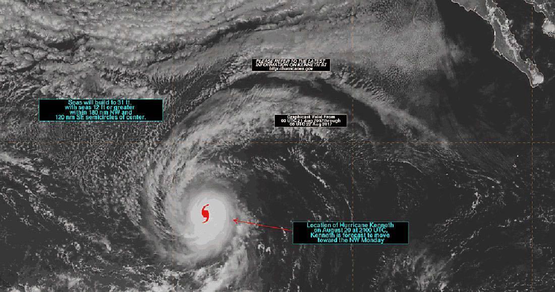 Se forma huracán Kenneth frente al Océano Pacífico