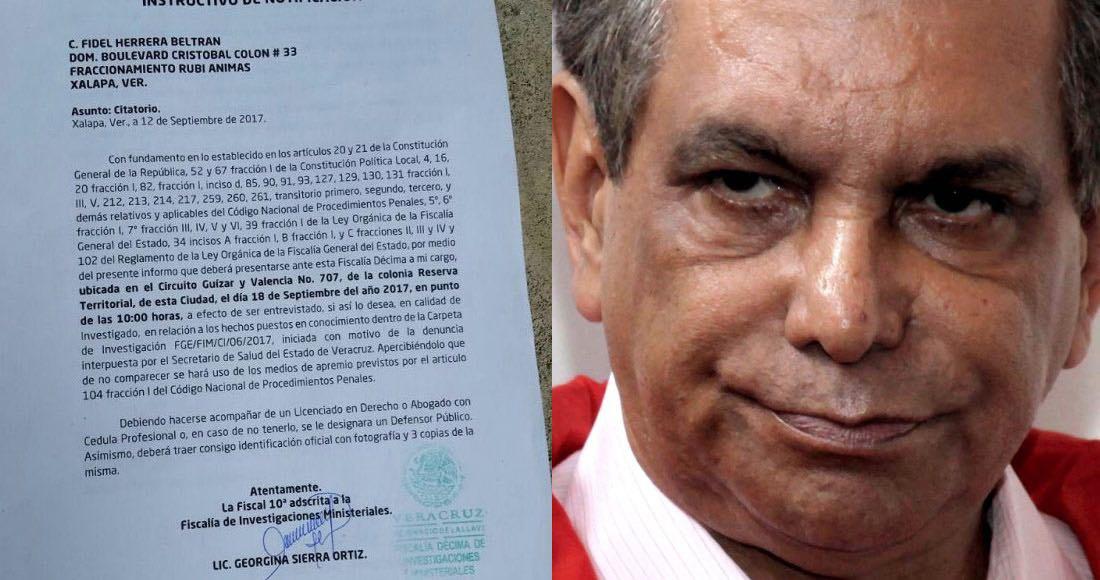Cita Fiscalía de Veracruz a Fidel Herrera