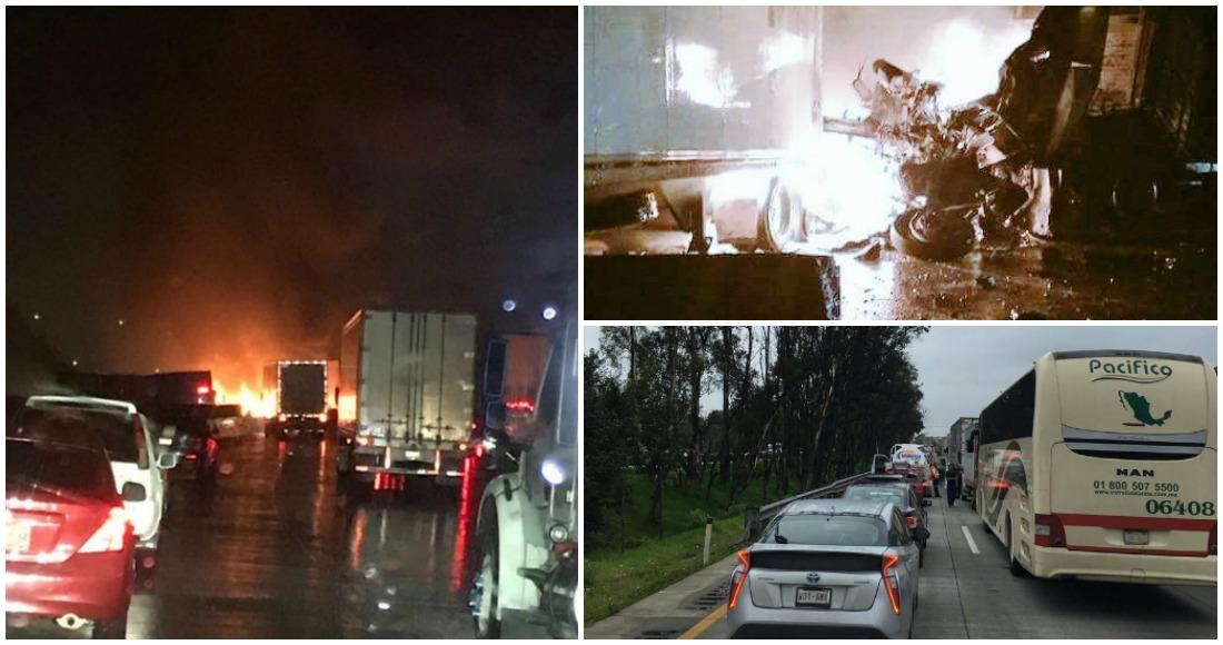 Reabren circulación en la México-Querétaro tras fuerte accidente