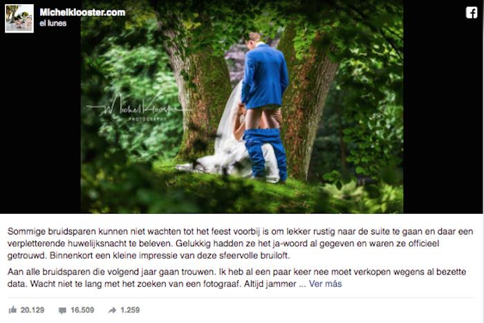 Poco romántica foto de bodas se vuelve viral