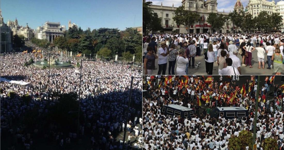 Españoles toman las calles para pedir diálogo en Cataluña