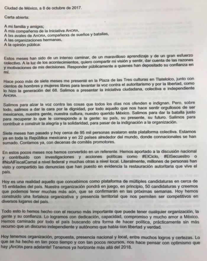 Álvarez Icaza ya no irá por la Presidencia