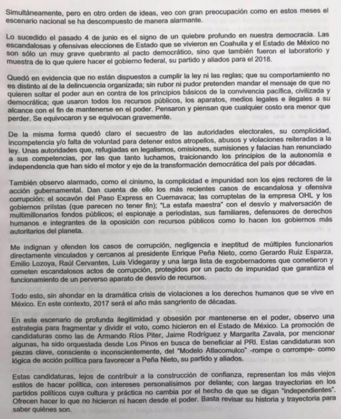 Emilio Álvarez Icaza declina registro independiente a la Presidencia