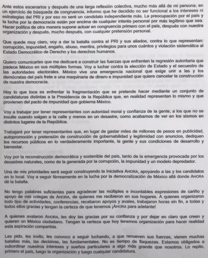 Deja Álvarez Icaza carrera presidencial