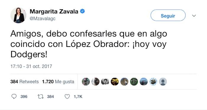 Margarita Zavala confiesa que coincide con AMLO: 'va con los Dodgers'