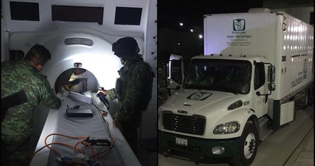Aseguran 371 kilos de droga oculta en unidad médica móvil