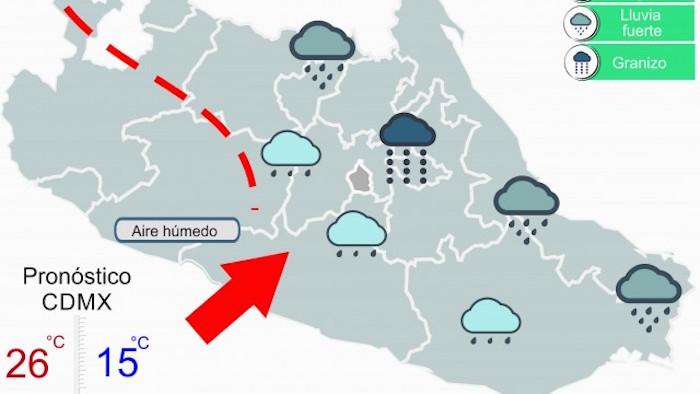 Emiten Alerta Amarilla en 11 delegaciones por lluvia y granizo